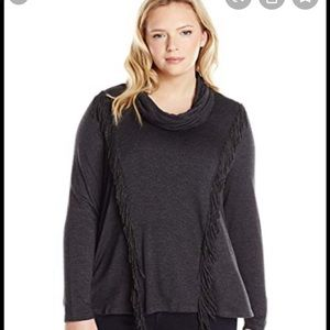 Jessica Simpson grey cowl neck sweater with fringe